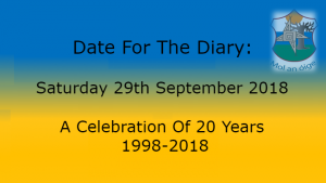 Date For The Diary: 29th September 2018…A Celebration Of 20 Years