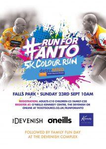 Register For The 'Run For Anto' On Sunday 23rd September!