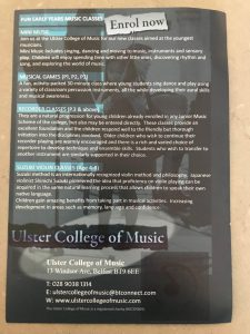 Saturday Morning Music Classes At The Ulster College Of Music
