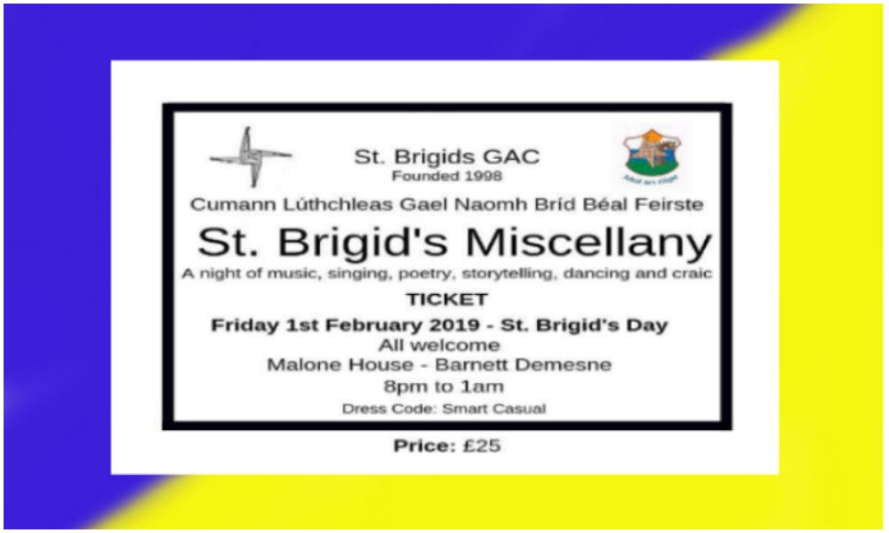 St Brigid's Miscellany: A Night Of Culture And Craic In February!