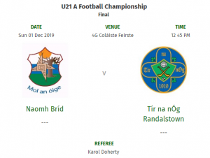 U21s In County Final On Sunday 1st December!